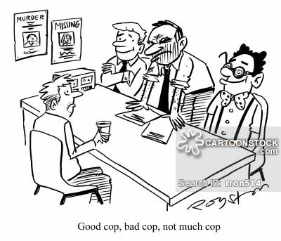 Crime suspect faces interrogation panel comprising of 'Good cop, bad cop, not much cop.'
